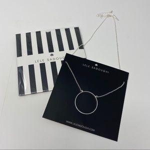 New Lele Sadoughi Silver Circle Necklace
